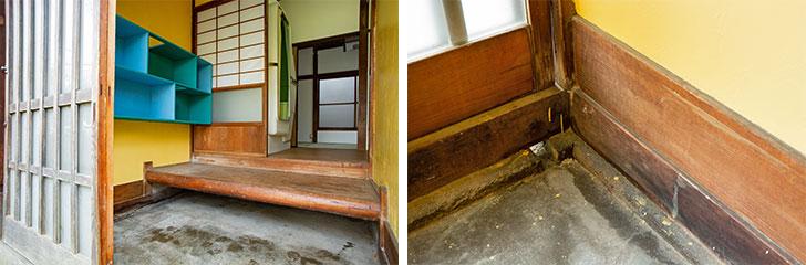 玄関の引き戸の下にあいた排水口から水を流せるため、粗相があってもお掃除が簡単(写真撮影/片山貴博)