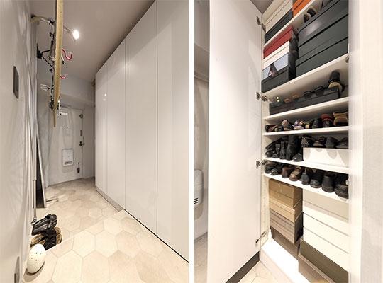 写真左:玄関の壁面上部にロードバイク、反対側は一面4カ所の壁面収納、扉を閉めればスッキリ。写真右:壁面収納はちょうど靴が入る奥行きで、夫婦それぞれの靴やバッグ用。靴だけで安武さん100足、恵理子さん50足は超える(写真撮影/飯田照明)