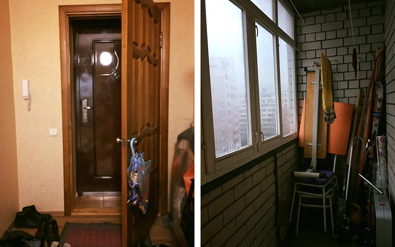 写真左:2枚ある玄関ドア 写真右:窓付きのバルコニー(写真撮影/SUUMOジャーナル編集部)