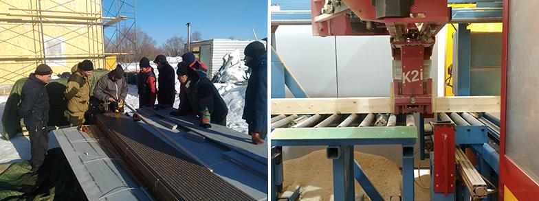 写真左:ロシアの大工に技術を教える上杉氏 写真右:ロシアのプレカット工場。日本式に細かくチューニング・教育を行った(写真提供:IIDA SANGYO RUS)