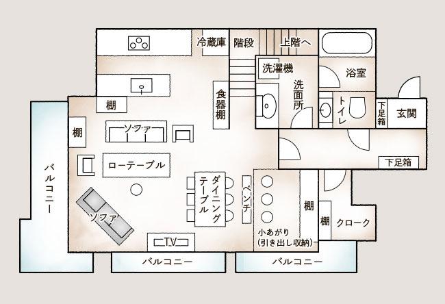 和田さんのお住まいはマンションの最上階、4階と5階のメゾネット。人が集まりやすいよう玄関を入ったフロアをパブリックスペースに、階段をあがった上階を寝室や子ども部屋などのプライベートスペースに(和田さん提供資料を基にSUUMOジャーナルにて作成、上階省略)