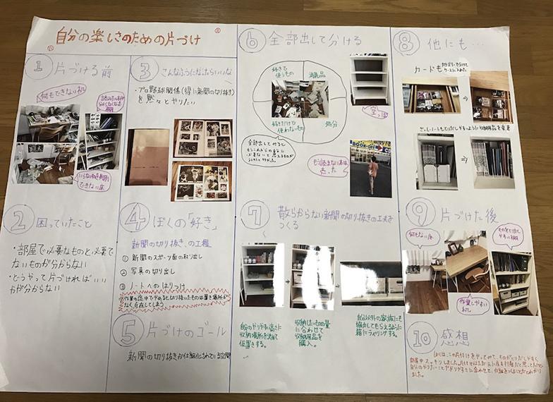 植田倫成さんの研究レポート。整理整頓できず物のあふれていた部屋が、最後にはスッキリ片づきました。気持ちいいですね(画像提供/JAPAN ORGANIZING AWARD実行委員会事務局)