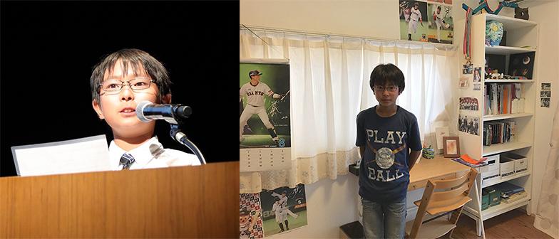 左/昨年、研究発表をした際の倫成さん(画像提供/JAPAN ORGANIZING AWARD実行委員会事務局)、右/約11カ月後、たくさんの野球グッズが飾られた部屋の様子。切り抜きのファイルがピシッと整理されています(画像提供/植田洋子さん)