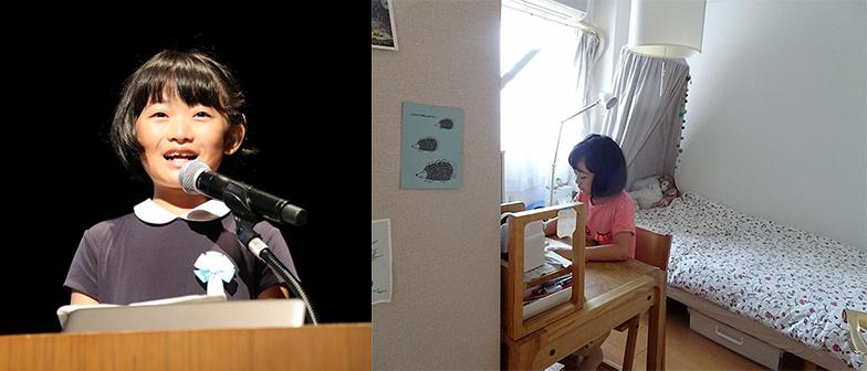 左/昨年、笑顔で元気に発表した万葉さん(画像提供/JAPAN ORGANIZING AWARD実行委員会事務局)、右/約11カ月後に自室にて。女の子らしい可愛いインテリアの部屋です(画像提供/横田ちひろさん)