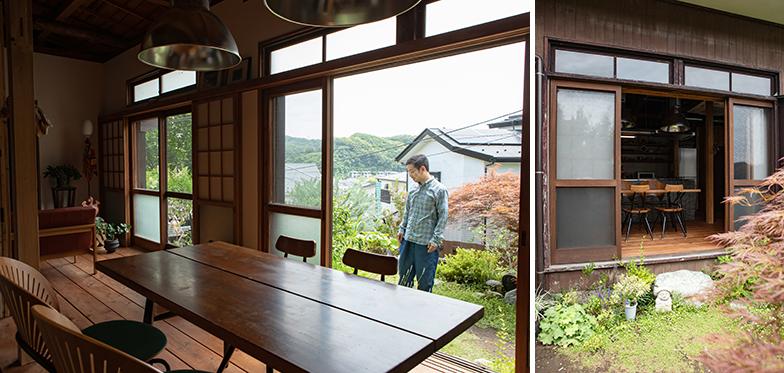 昔ながらのレトロな木製建具が残る平屋に一目惚れして、これを活かしてリノベーションすることに。高台にあるので遠くの山並みも見えて眺めも良い(写真撮影/片山貴博)