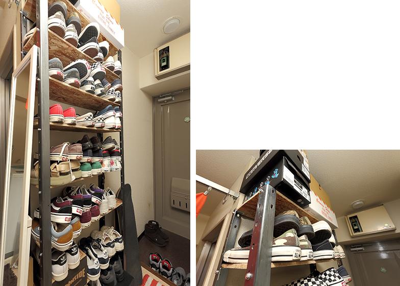 棚の奥行きを靴のサイズより小さくすることで、収納量をキープしつつ通路の邪魔にならないよう動線にも配慮。以前使っていた収納棚の枠を利用して、棚板を新しくしたDIYだ(写真撮影/飯田照明)