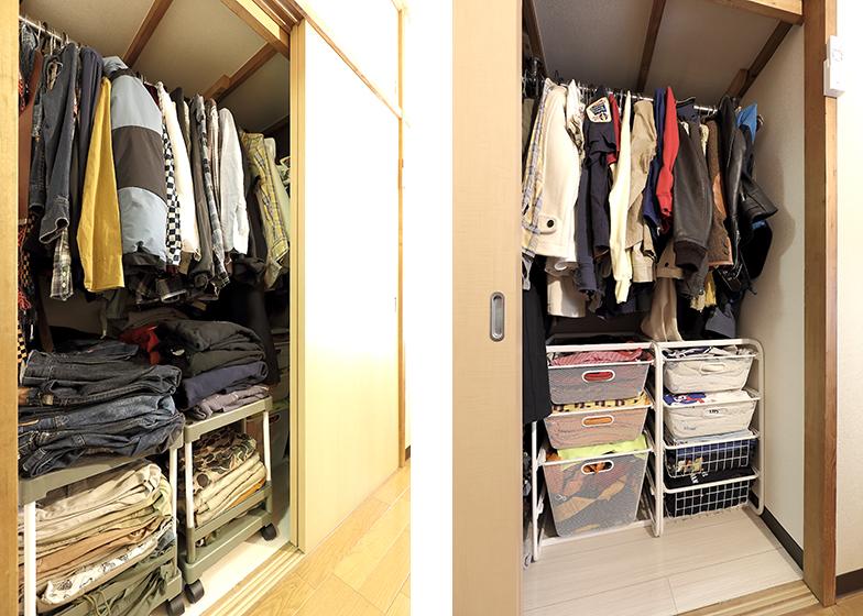 押入れスペースは一間分。上部は左右どちらもハンガーポールに上着を吊るし、下部は奥行きを利用した引き出す収納に。左下部にはパンツ類やトレーナーなどかさばる物を色別に、右はTシャツ類など軽い物を中心に(写真撮影/飯田照明)