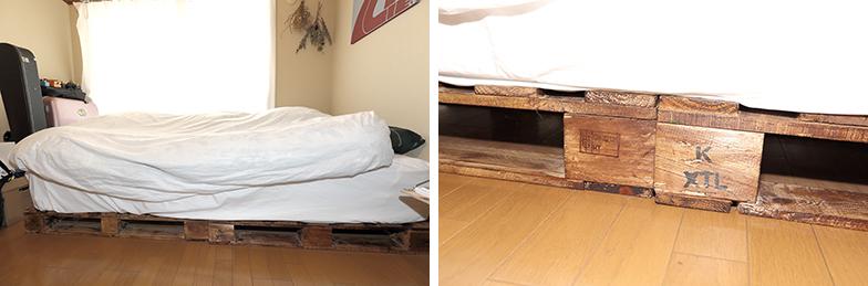ベッドは工場などで使うパレットをインテリアに合うよう着色した土台の上にマットレスを置いただけのシンプルなもの。「通気性もあり、低めでちょうど使いやすいです」(写真撮影/飯田照明)