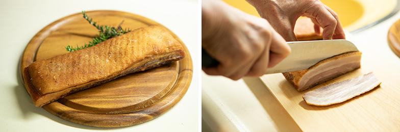 生の豚バラ肉を香辛料などと共に冷蔵庫で1週間ほど脱水し、フライパンを使って40分~1時間ほど薫製したもの。冷蔵庫から出してスライス(写真撮影/片山貴博)