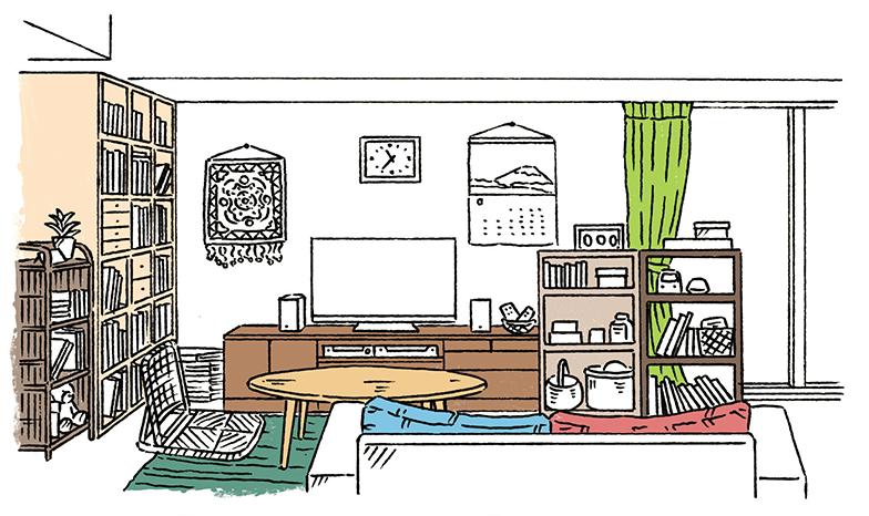 見直したいポイント1.置き家具に統一感がない 2.ファブリックの色柄が多い 3.飾り物に統一感がない 4.背の高い家具で圧迫感が 5.家具が窓をふさいでいる6.室内に凹凸が多い(イラスト/越井隆)