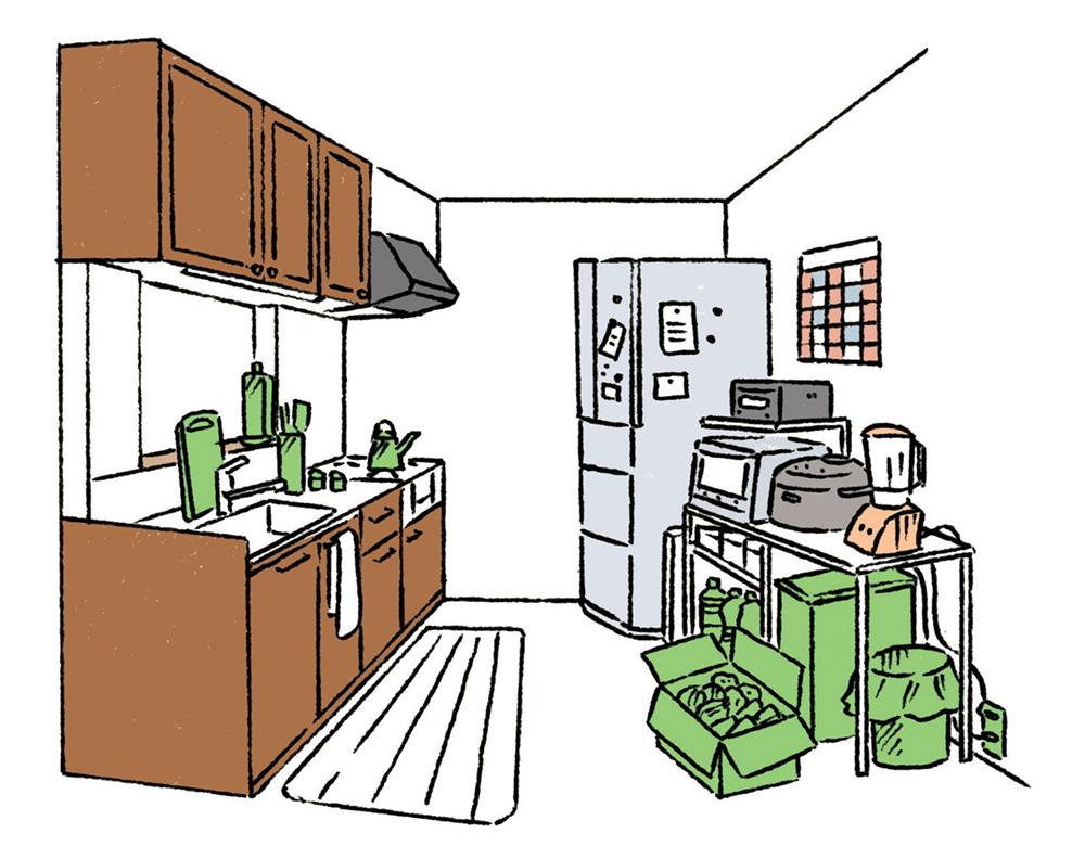 見直したいポイント1.調理器具が丸見えに 2.統一感のない調理家電 3.ゴミ箱や買い置き品が床の上に 4.コードが表に出ている(イラスト/越井隆)