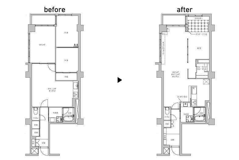 部屋が細かく分かれていた約71平米の2LDKを、ドアがなく緩やかに区切られた1LDKに変更。さらに玄関土間を広げ、オープンな収納にしたことで、よりのびやかな空間に生まれ変わった(画像提供/インテリックス空間設計)