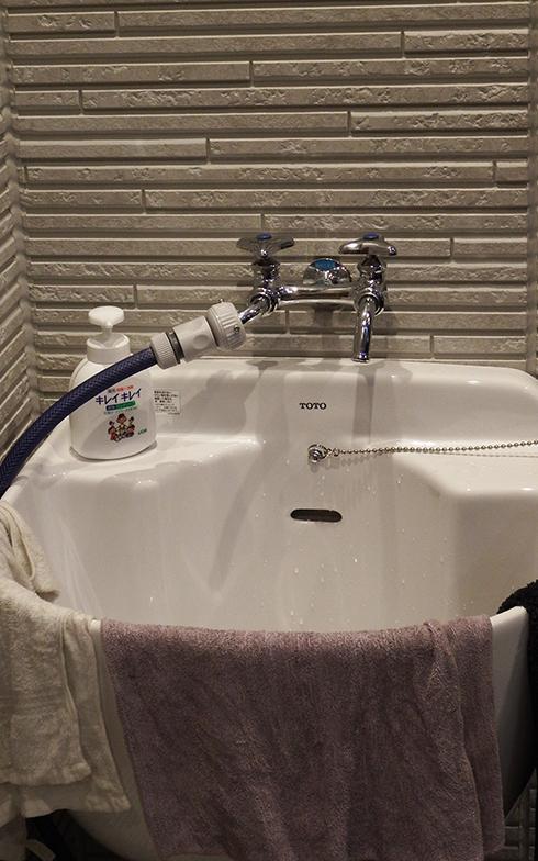 水栓二つを持つ大型の手洗いも使いやすい(写真撮影/織田孝一)