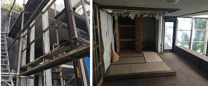 購入時の建物は、鉄筋はさび、ガラスも割れ、室内は野生動物に荒らされ「まさに廃墟同然だった」という(画像提供:坂田華)
