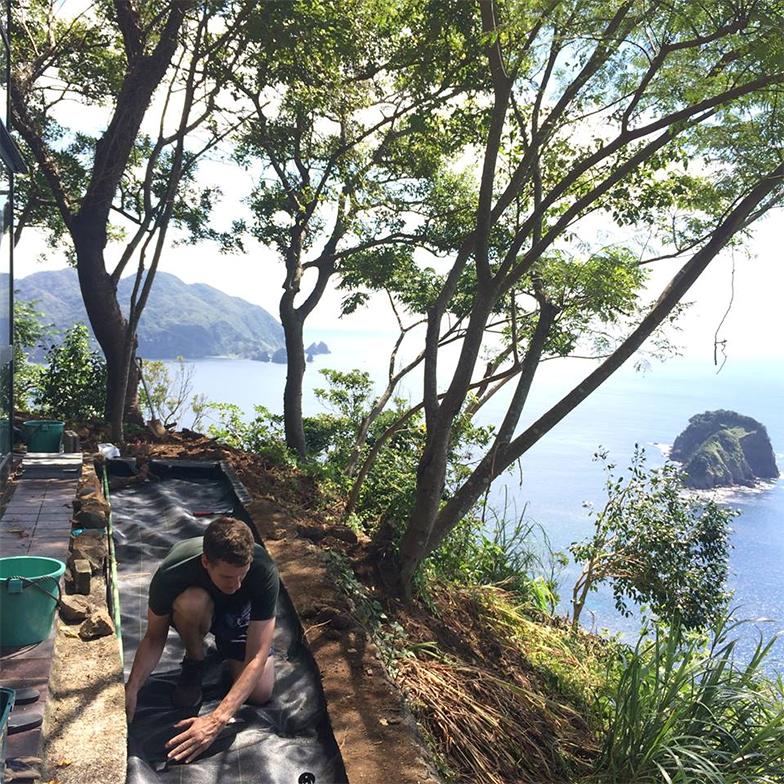 夫婦でできるところからDIYで改修を始める。通路をつくり、絡まった蔦を取り払うと、目の前には絶景の海が現れた(画像提供:坂田華)