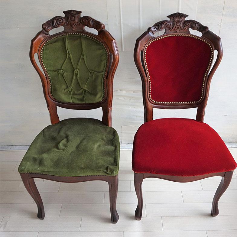 東大宮にあった喫茶店「ひまつぶし」の椅子。スポンジがすり減り、生地が擦り切れていた(左)。きれいに張り替え、きちんと使える状態に生まれ変わった(右)。手が触れる場所だからと裏地もしっかり張り替えている(写真提供/村田龍一さん)