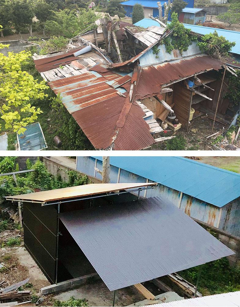 (上)裏小屋は修復不可能な状態だったので、取り壊して、簡易的な倉庫(下)を建てた(写真撮影/福島新次さん)