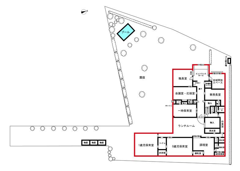 当初の建築プランは、南側に広い園庭を確保したL字型の園舎(井上さん提供の図をもとに作成)