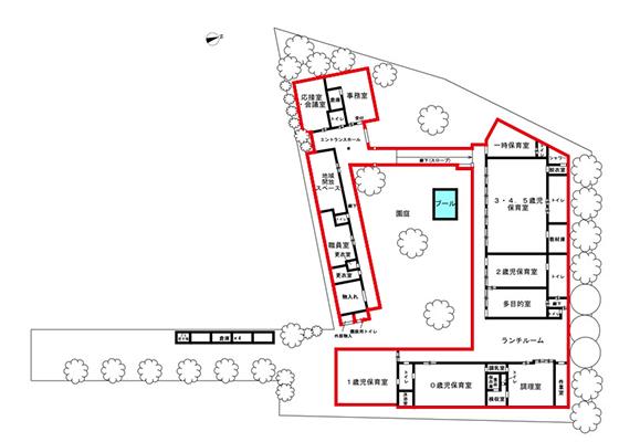地域の要望を受け、園庭をぐるりと園舎で囲む形のロの字型配置で遮音性を確保(井上さん提供の図をもとに作成)
