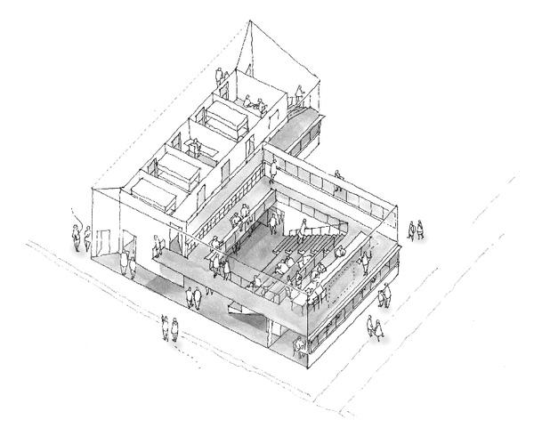 小高パイオニアヴィレッジ俯瞰図の構想スケッチ。「境界のあいまいな建築」がデザインコンセプトだ(画像提供/一般社団法人パイオニズム、設計:RFA)