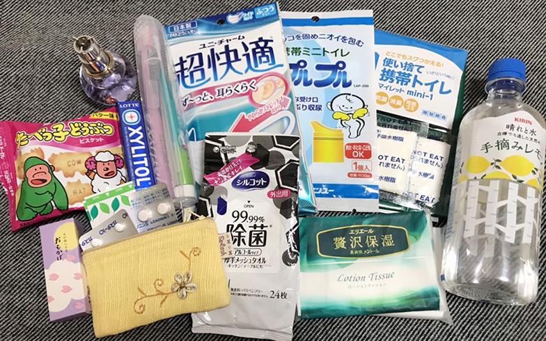 清水さんが常に携帯している防災グッズ(写真提供/清水範子さん)