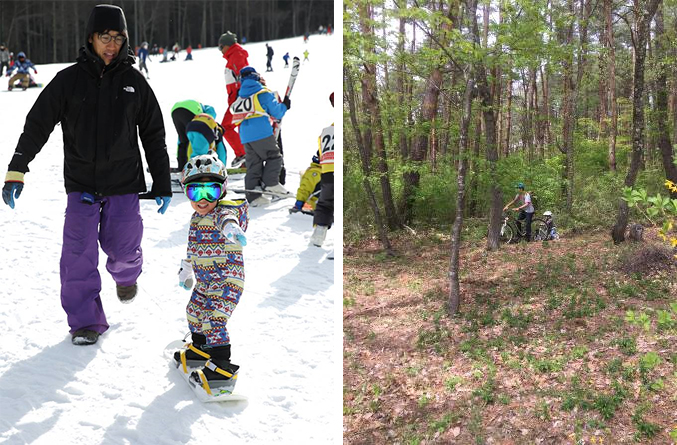 蓼科では夏はマウンテンバイクや登山、冬はスキーとアウトドアを存分に楽しむ生活。まだ3歳の長男はもう補助輪なしで自転車に乗れるという(写真撮影/左 飯田照明、右 古後さん)
