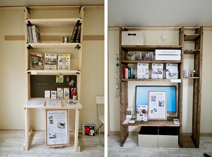 DIYで仕上げた突っ張りタイプのツールを使ったデスク&テレビ台の組み立て見本が展示されている(写真撮影:井村幸治)