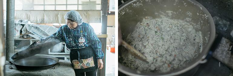 この日、つくられていた「雲原こんにゃく」は凝固させるためにそば殻の灰を使用する、雲原地区伝統の製法。灰汁抜きせずにそのまま生で食べられる。おかずはおばちゃんたちがすべて手づくりする人気の「水車定食」の一品にもこのこんにゃくを使用(撮影/中島光行)