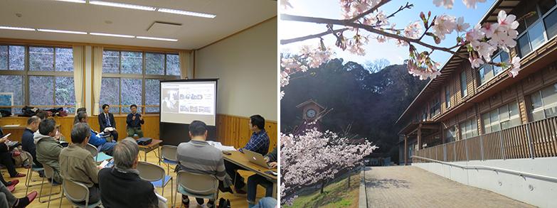 市民参加検討イベント(第3回)は桜咲く地元の中学校を会場に、松尾崇鎌倉市長と清水千弘日本大学教授によるクロストーク。筆者はここで初めて鎌倉のSDGsへの具体的な取り組みを知った(写真撮影/長井純子)