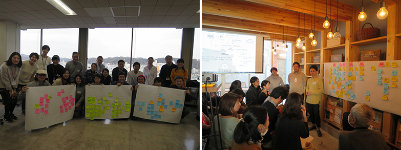 ある時は鎌倉市役所最上階の眺めの良い会議室で、ある時は鎌倉で働く人のための食堂で、検討プロジェクトは積極参加の市民で毎回熱い議論に(右写真撮影/エンジョイワークス、左写真撮影/長井純子)
