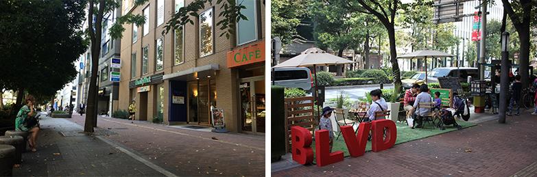 池袋駅東口グリーン大通りのブロジェクト(2014-2015)。(左)普段は広い歩道が続く通りだが、(右)期間中はイスやテーブルを置いて飲食できるスペースに(写真提供/泉山塁威さん)