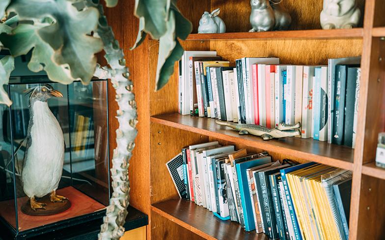 引越してきたときに持っていた家具は本棚だけ。ガラスケース入りのペンギンも台南で見つけて、抱えて新幹線で持ち帰った(写真提供/KRIS KANG)