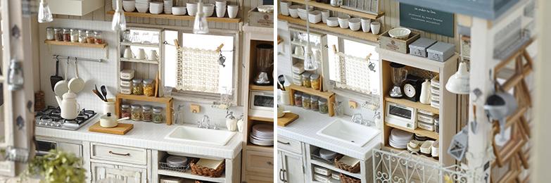 タイル貼りのキッチンに食器、瓶詰め、家電、お皿、気の遠くなるような、小物の数々。実際の職人の技を使った窓に注目!(撮影/香西ジュン)