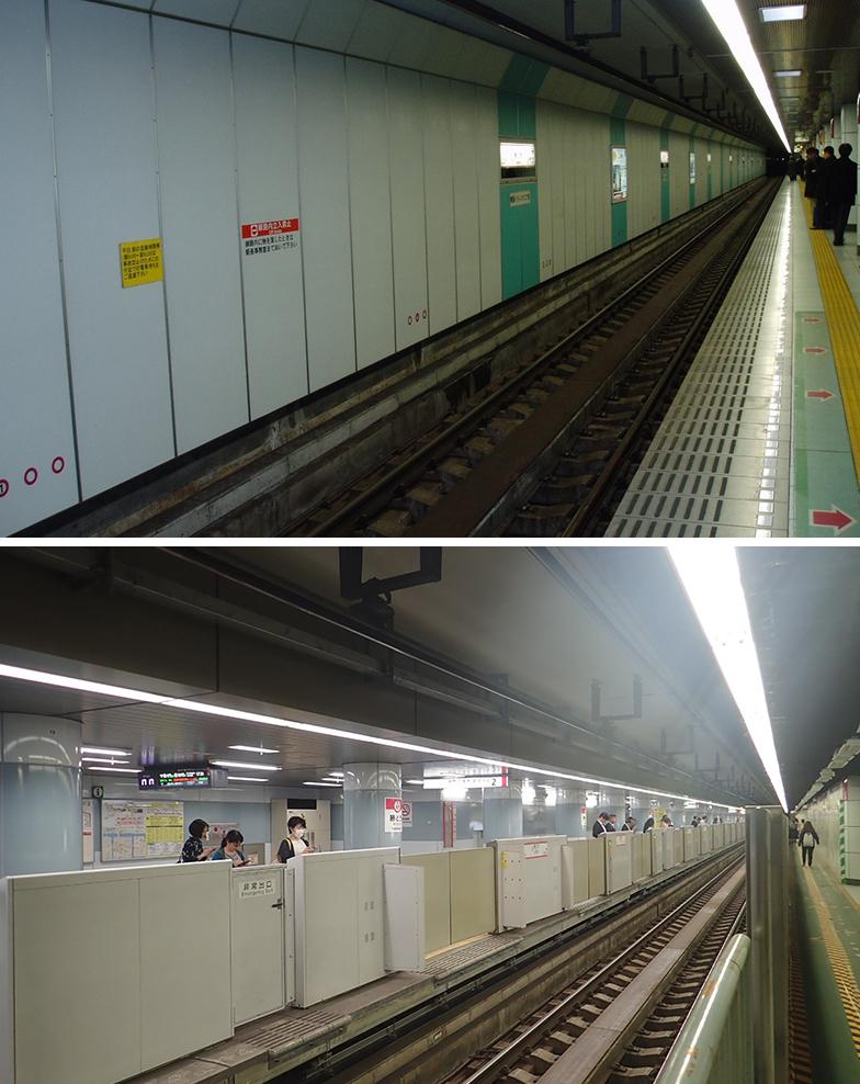 写真上が改良前。下が改良後。線路の向こう側に新たにホームがつくられた(画像提供/東京都交通局)