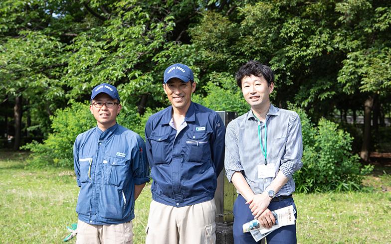 右から、東京都公園協会スタッフの表さん、武居さん、石塚さん(写真撮影/片山貴博)