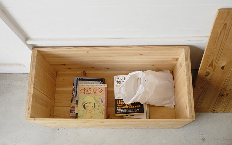 無人古本屋さん「BOOK ROAD」の店内にある木箱には、お客さんが譲ってくださった本が数冊入っている