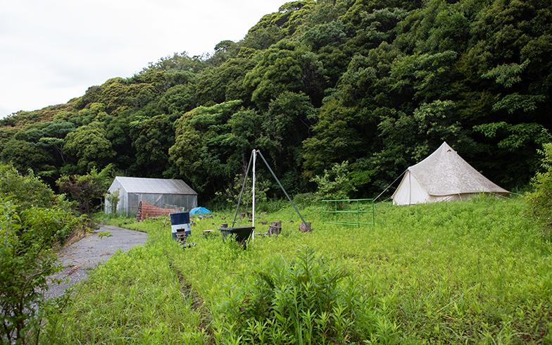 家の裏手には大きなテントを張れるスペースも。学生たちが寝泊まりした(写真撮影/片山貴博)