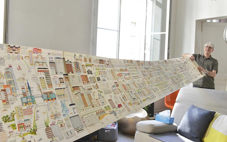 30年も前からヴァレリーさんが少しずつ描き続けているデッサンを絵巻にして保存。 過去にギャラリーで展示したことがありますが、新しいものもあるのでまたやってみたいとのこと(写真撮影/Manabu Matsunaga)