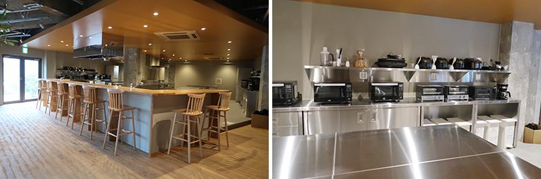 """シェアプレイス三鷹のキッチンとダイニング。調理器具や家電も充実しているほか、カウンター席を設けるなど、""""食""""をきっかけに住民の交流が生まれる工夫がされている(写真撮影/嘉屋恭子)"""
