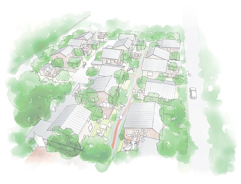 完成後のイメージパース。住棟が緑に囲まれ庭や通りで住人が交流している(資料提供/荒正)