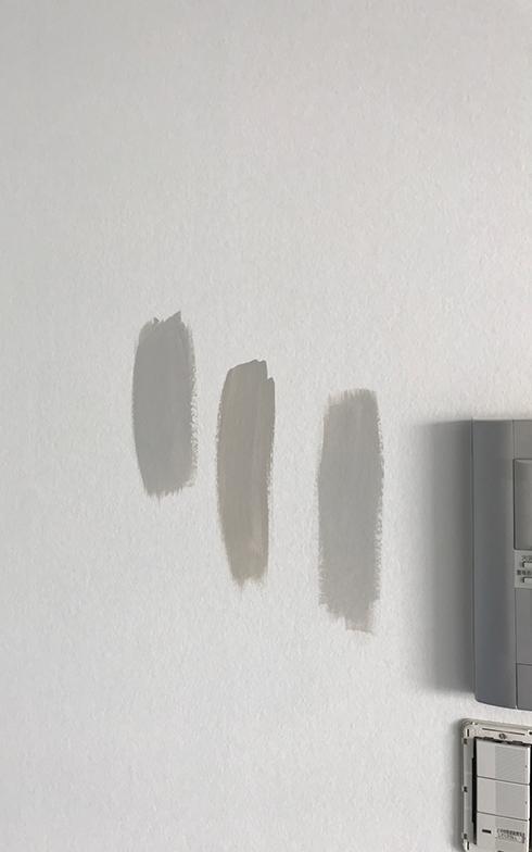 色選びをする際はいつも、少量のサンプルポットを使って何種類かを実際の部屋に塗り、朝昼夜の光でその表情を確かめて選ぶのだそう。今回施工前の壁にグレーを試し塗りした様子(写真撮影/秋山千恵美さん)