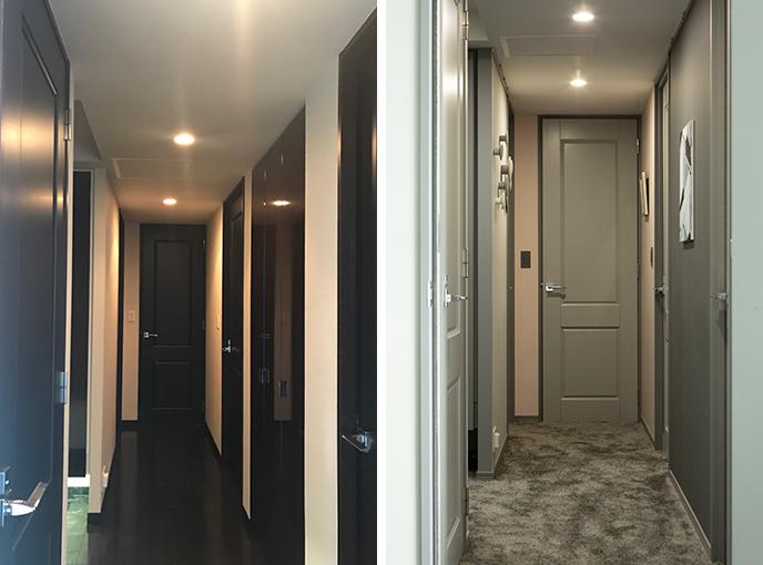 廊下のBefore → After。フローリング床をカーペットに、カラーをブラウンからグレーに。明るく柔らかで女性らしい空間、全く印象が変わっています(写真撮影/片山貴博)