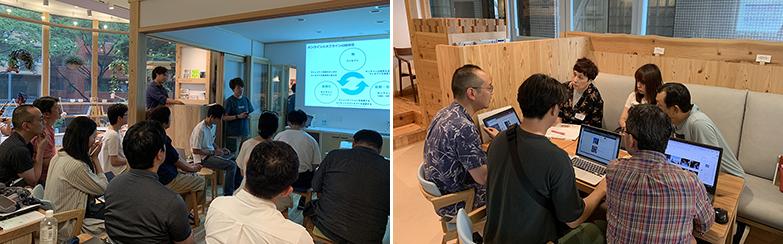 写真左から、同プログラムの講義、ワークショップ風景(画像提供/エンジョイワークス)
