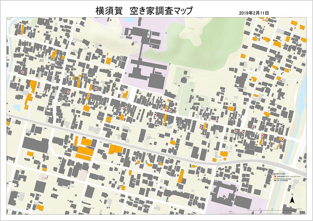 同調査で作成したマップ。空き家の位置が家のマークでプロットされている(画像提供/かけがわランド・バンク)