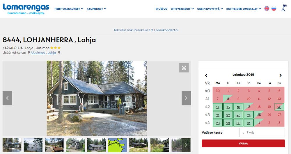 サマーハウス予約サイト。実際に予約した家がこちら。予約期間の初期設定が7daysと日本から見ると羨ましくなるような長さが、二拠点生活の先進国・フィンランドらしい