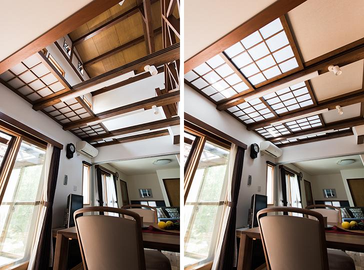 写真左:夏は建具を開けるので、上下に空気が通り、涼しく過ごせる/写真右:冬は建具を閉じることで、1階の暖気を2階に逃がさずに済み、暖かく過ごせるようになった(写真提供/喜多ハウジング株式会社)