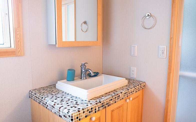 トイレと一体化したパウダールーム。モザイクタイルがおしゃれ (写真撮影/片山貴博)