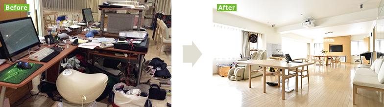 (左)同じ部屋とは思えない、汚部屋時代。デスクまわりも仕事関連のモノがあふれ、収拾のつかない状態。せっかくのルンバも床に散乱したモノで活躍の場がなかった(写真提供/勝間和代さん)(右)現在の勝間さんのお部屋。明るく広々、厳選されたものだけに囲まれた「一番快適な場所」。断捨離で床にモノがなくなり、時間セットしたルンバが毎日大活躍でさらに綺麗に(写真提供/文藝春秋)