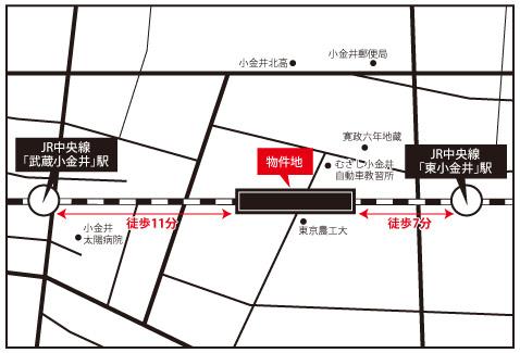 東京都による三鷹・立川間の連続立体交差事業が行われ、2010年11月に約9kmに及ぶ長大な高架下スペースが生まれたJR中央線。武蔵小金井駅と東小金井駅の間にはすでにショッピングモールや保育園がある(画像提供/JR中央ラインモール)