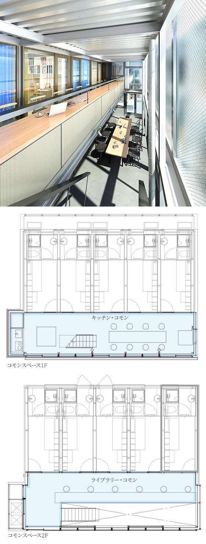 L棟のコモンスペース(共用スペース)として、1階にはキッチン、2階にはライブラリーが。それぞれを経由して居室に入るつくりになっており、居室はごくごくコンパクトな空間となっている(画像提供/JR中央ラインモール)
